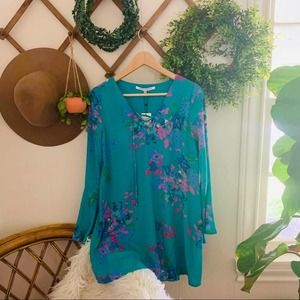 Collective concepts blue floral dress NWT small